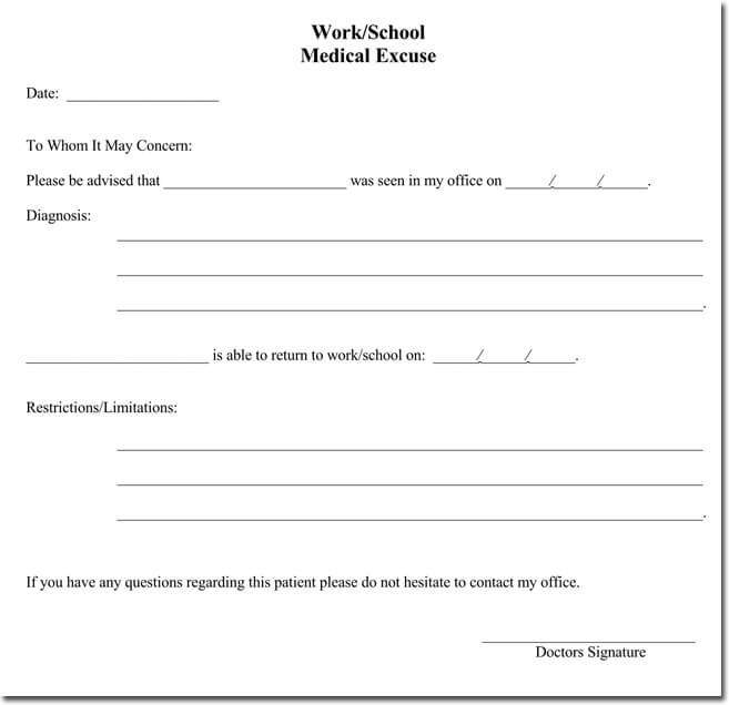 Doctors Note For Work Pdf  BesikEightyCo