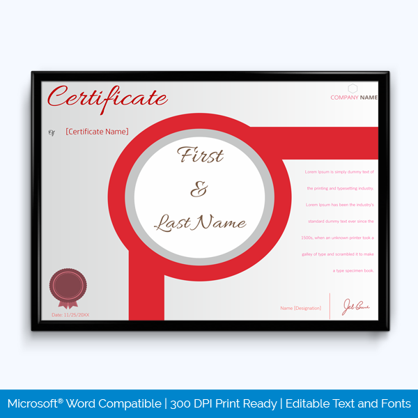 award certificate of participation