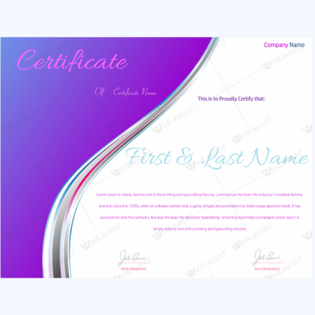 completion award certificate template