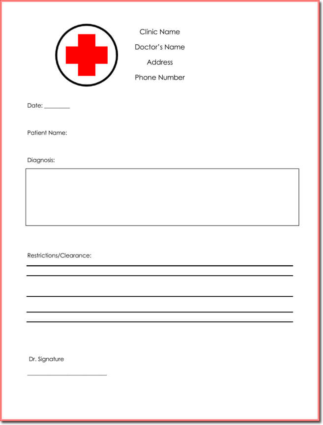Clinic Note Doctor Notes Free Doctor Note Excuse Templates Template