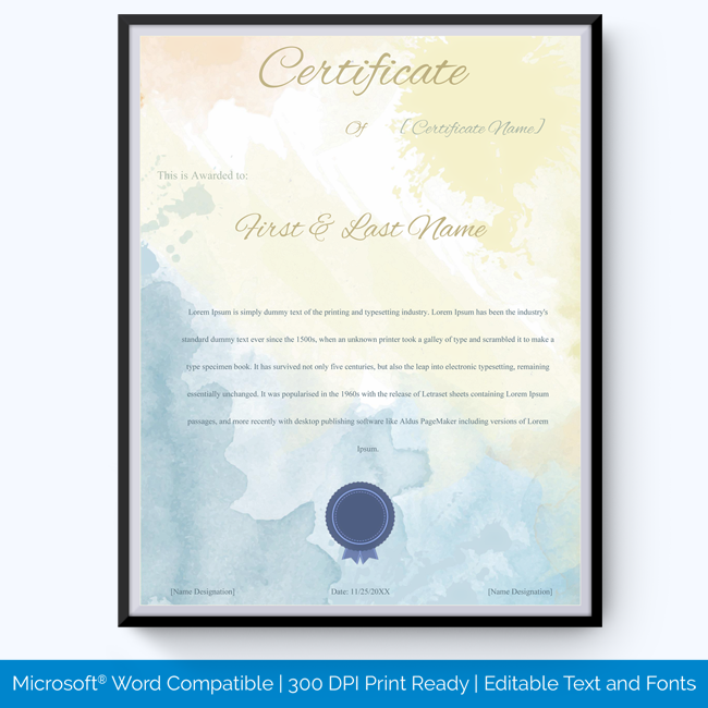 year of service award certificate template