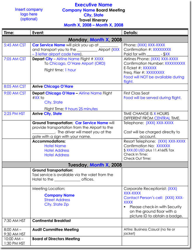 Board Meeting Travel Itinerary Template With Complete Travel And Meeting  Schedule
