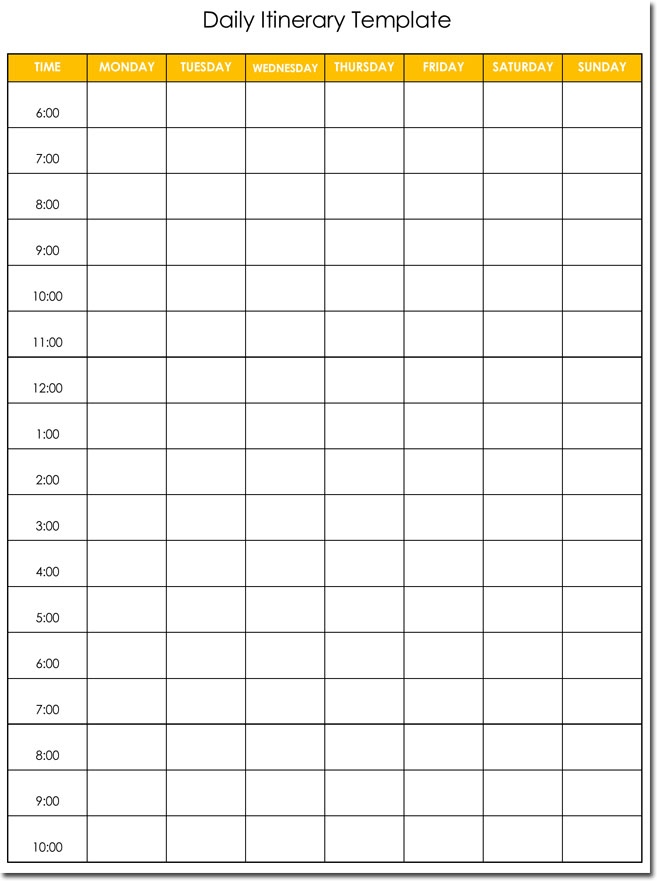 7+ Daily Itinerary Templates, Formats To Download In Excel And Word