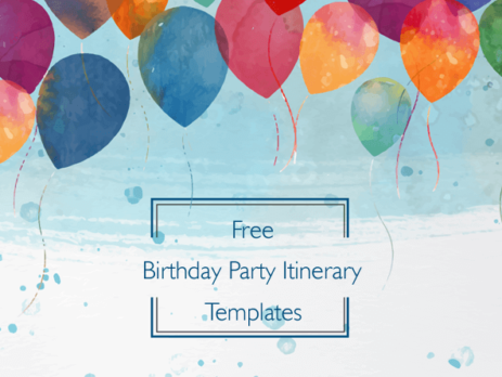 Free Birthday Party Itinerary Templates