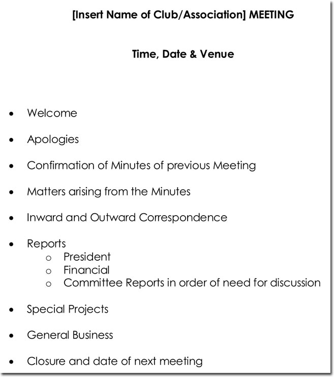 10+ Meeting Itinerary Templates with Meeting Agenda & Minutes
