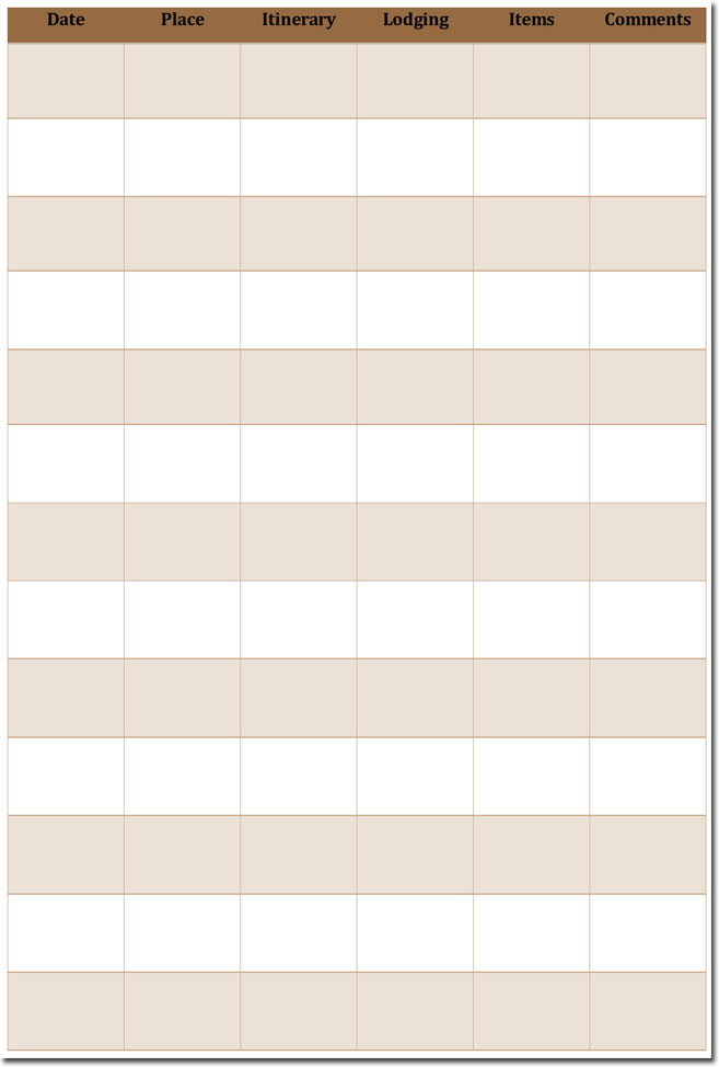 Printable Daily Itinerary Template