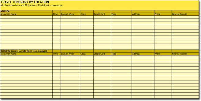 Travel Itinerary Template with Location and Time