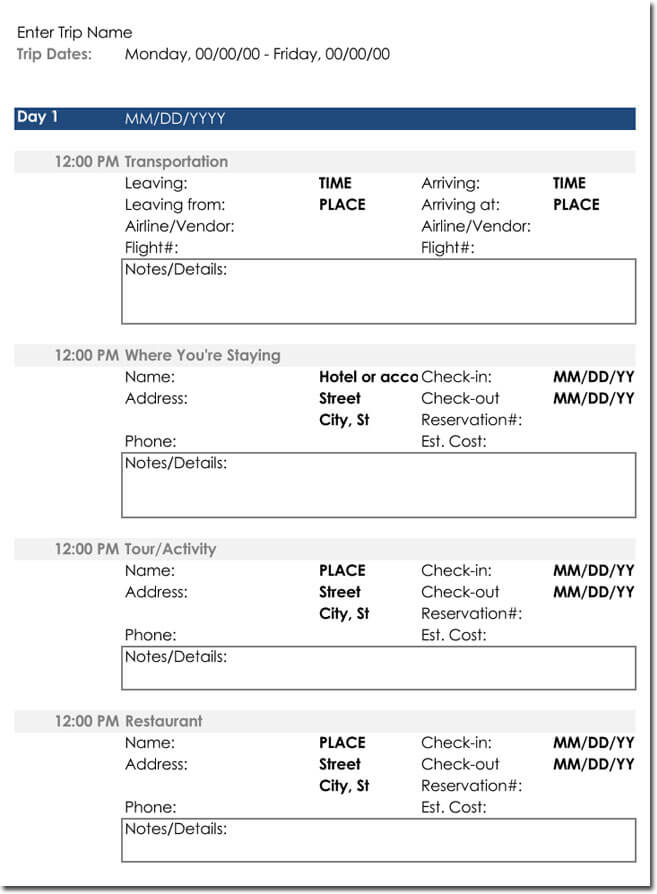Template Itinerary For Travel  BesikEightyCo