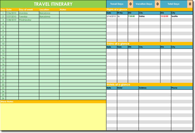 Travel Itinerary with Travel, Hotel and Booking Plans