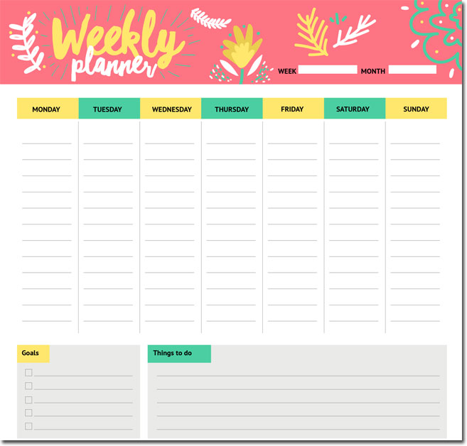 weekly itinerary template family schedule daily weekly