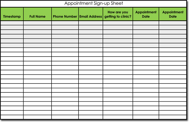 Signup sheet templates 40 sheets 15 types word excel for Appointment log template