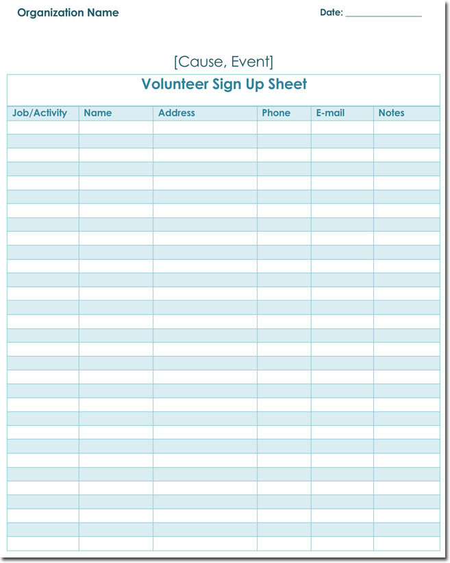 signup sheet templates 40 sheets 15 types word excel. Black Bedroom Furniture Sets. Home Design Ideas