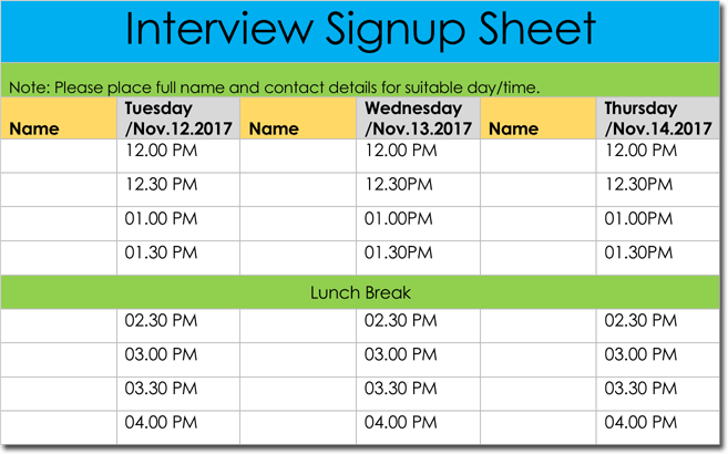 editable interview signup sheet template word