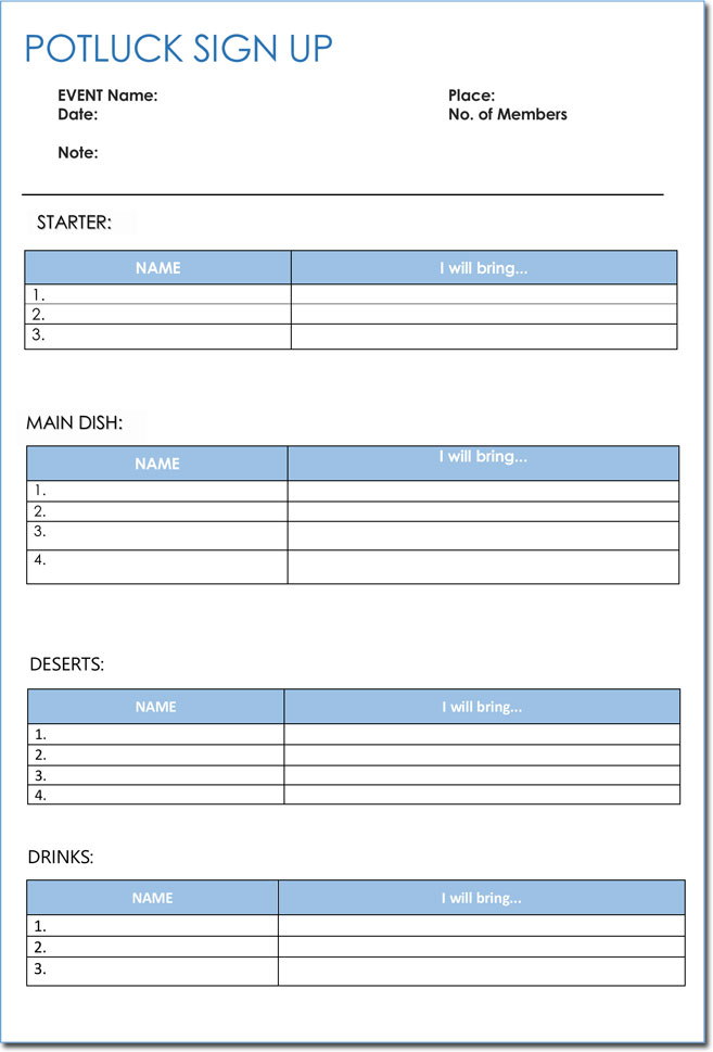 Free Potluck Signup Sheet Download For Word