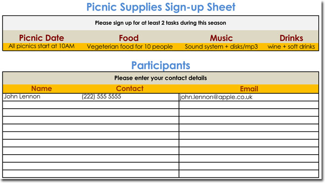 how to make a signup sheet in excel