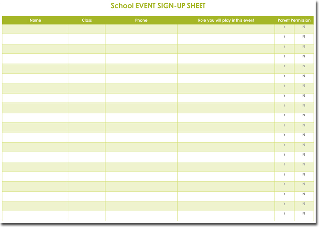 Signup Sheet Templates 40 Sheets – Event Sign in Sheet Template