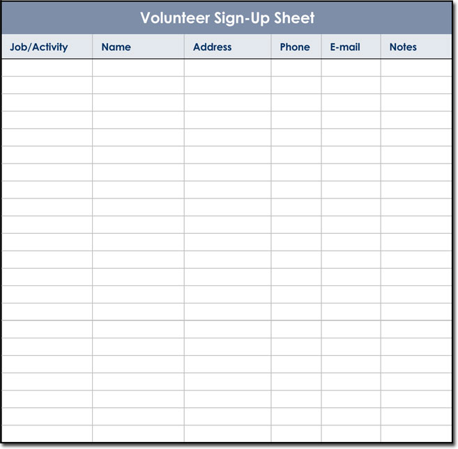 Signup Sheet Templates 40 Sheets 15 Types Word Amp Excel