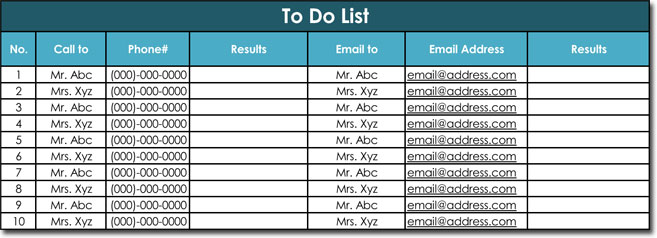 Call Email To Do List Template Excel