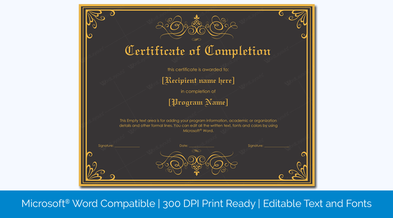 Completion Award Certificate Template Word