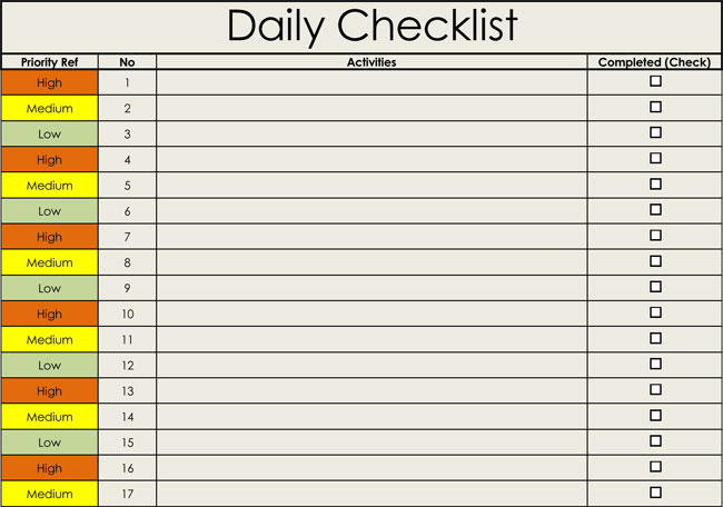 Free Daily Checklist Template for Excel