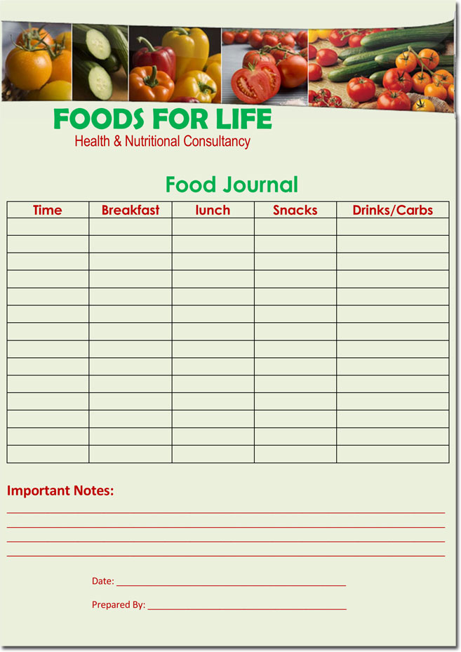 Food Diary Log Journal Templates