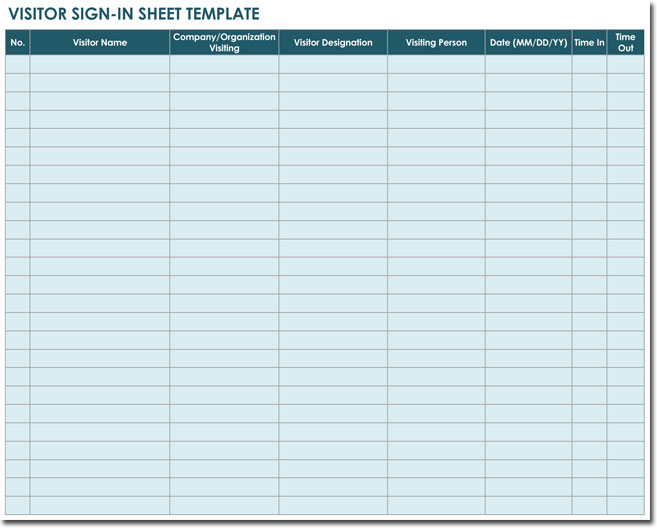 20 sign in sheet templates for visitors employees class for Security sign in sheet template