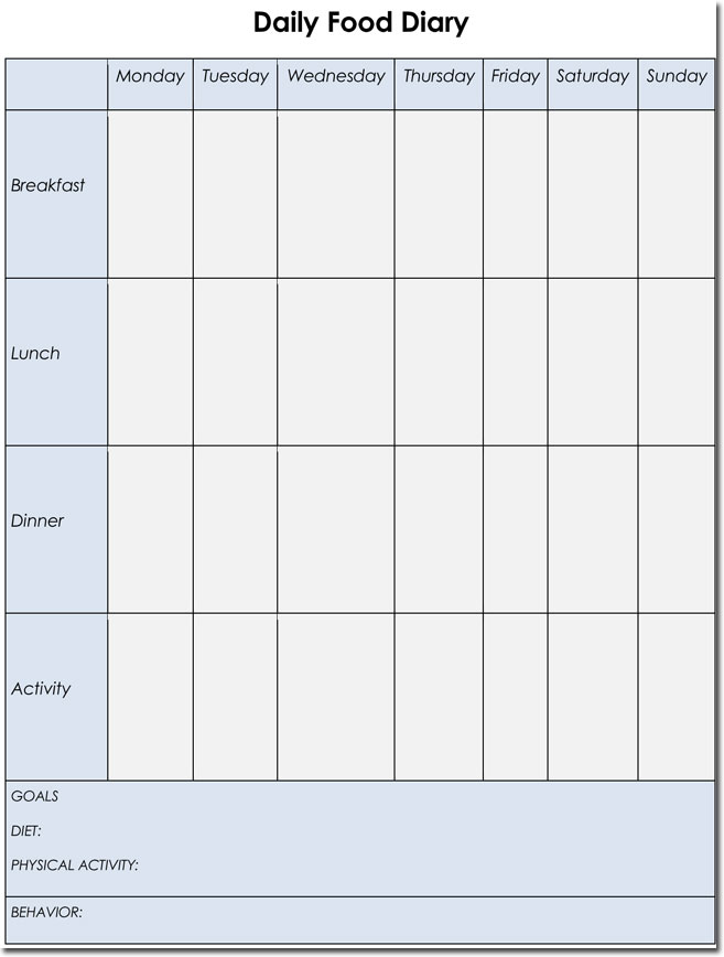 Food diary log journal templates for Food diaries templates