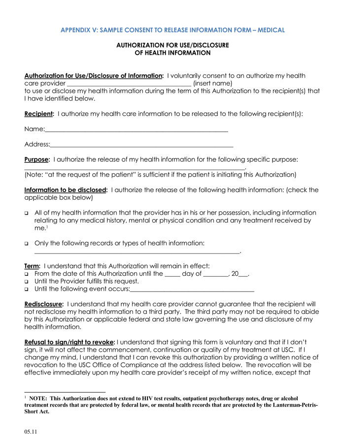 California Authorization To Release Medical Information Nolo
