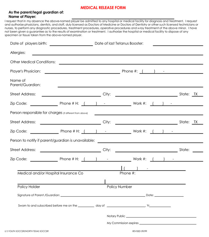 Samples Of Medical Records Release  Authorization Forms
