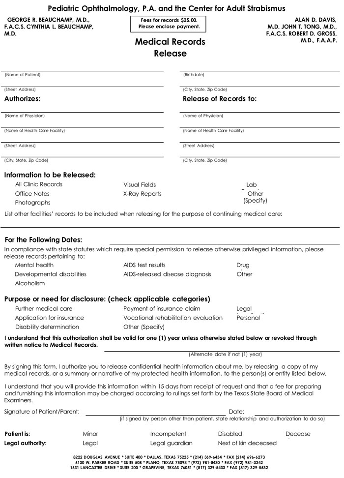 standard medical records release form - Medical Records Release Form