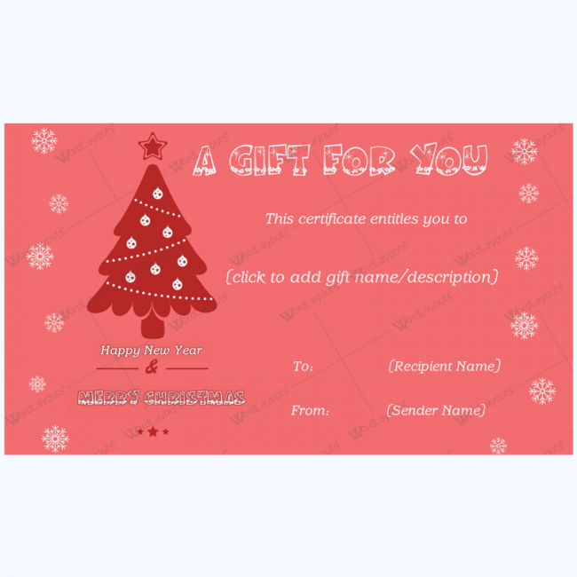 Festive Snowflake Gift Certificate Template