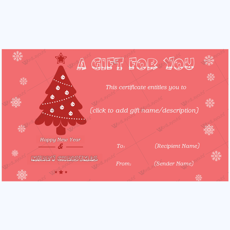 Festive Snowflake Gift Certificate Template - Word Layouts