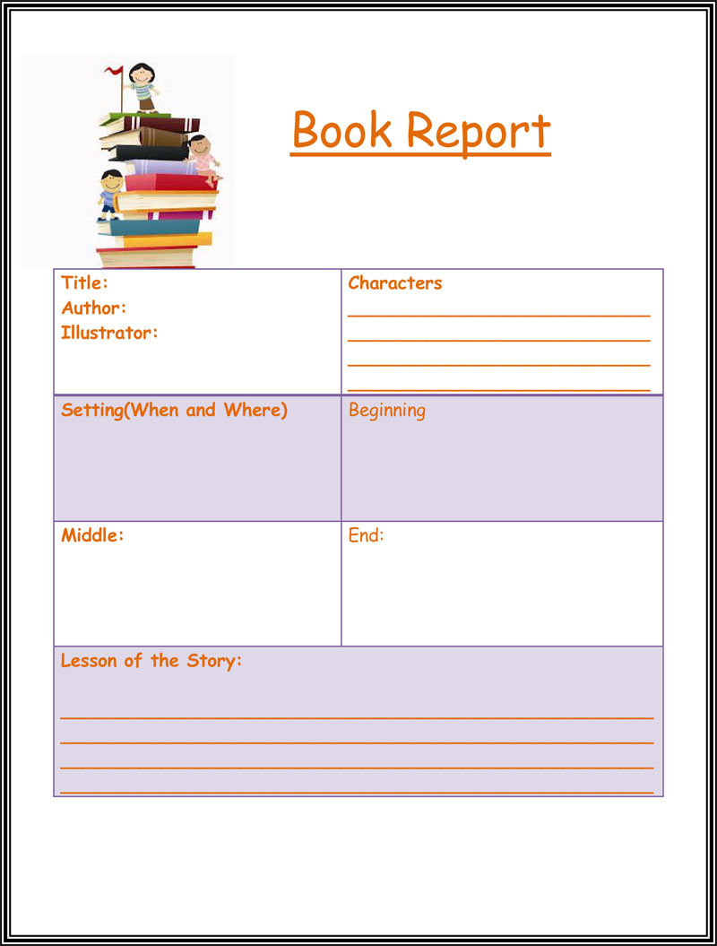 free book report worksheet templates word layouts