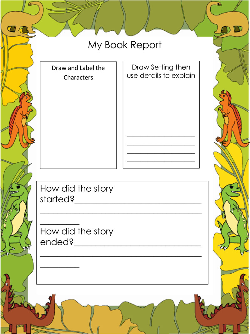 book report template middle school