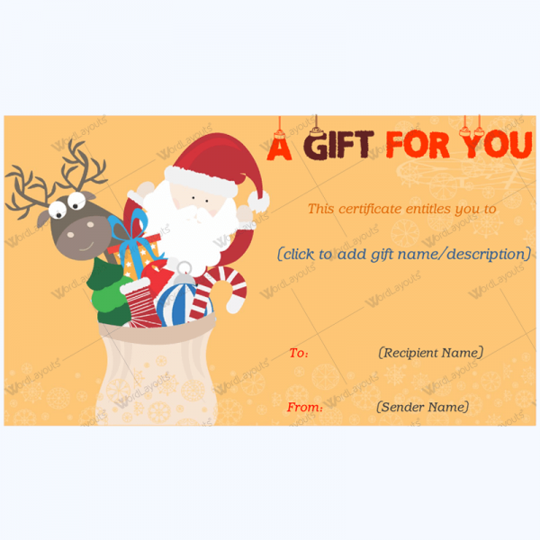 Perfect Christmas Day Gift Card Template Word Layouts