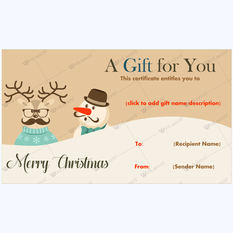 It is a picture of Punchy Free Christmas Gift Certificate Template Printable