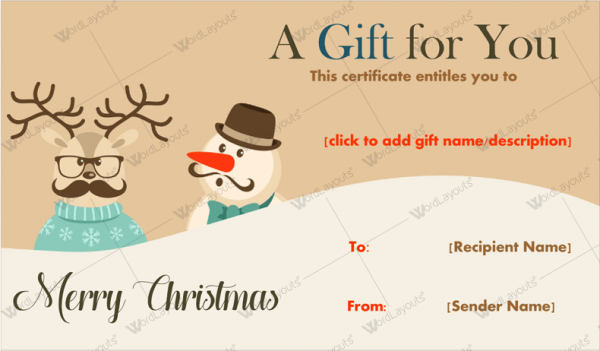 Snowman Reindeer Christmas Gift Certificate Template Word Layouts