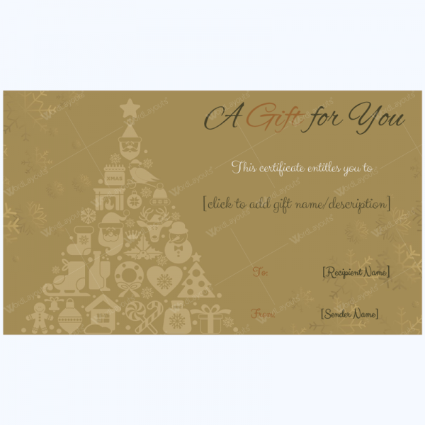 Golden Trees Christmas Gift Card Template - Word Layouts