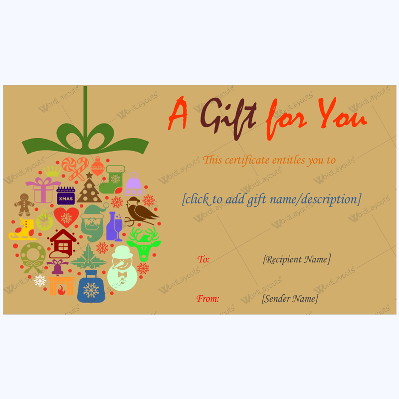 Christmas Wishes Gift Card Template Word Layouts