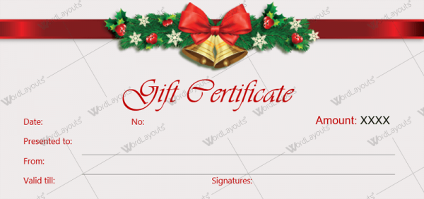 christmas gift certificate template 36 word layouts. Black Bedroom Furniture Sets. Home Design Ideas
