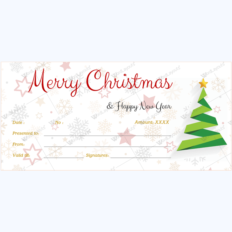 Christmas Gift Certificate And Voucher Templates Word Layouts