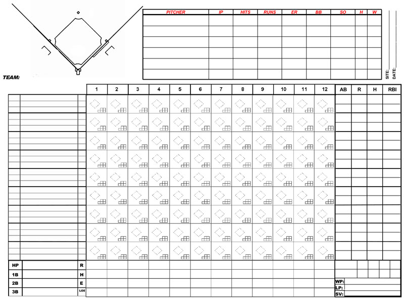 baseball score sheets - free printable