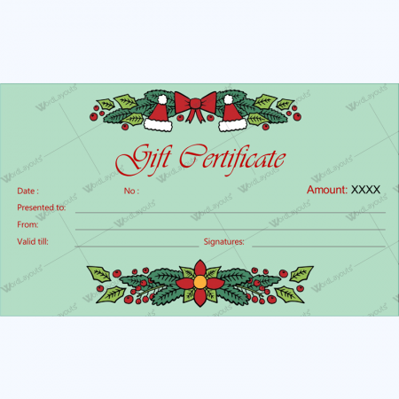 Christmas Gift Certificate and Voucher Templates Word Layouts – Free Holiday Gift Certificate Templates