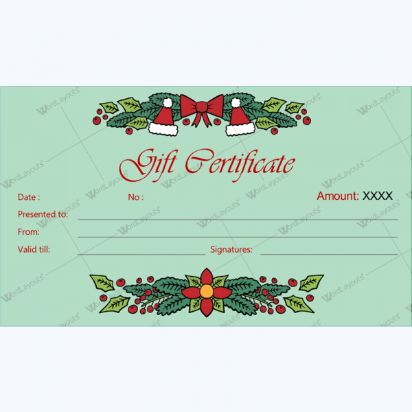 Holiday Gift Certificate Template Leoncapers