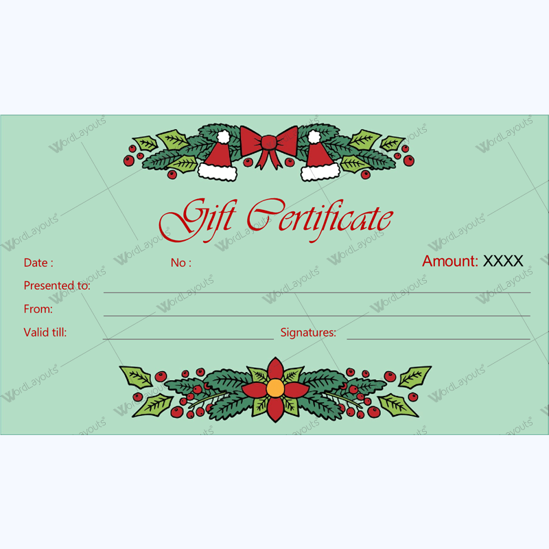 Christmas Gift Certificate Template 30 - Word Layouts