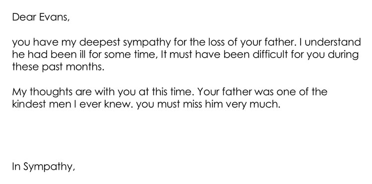 Condolences Letter for Death of Father