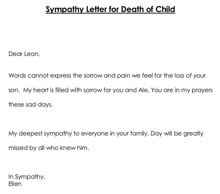 Sample Sympathy Letter for Death of Child