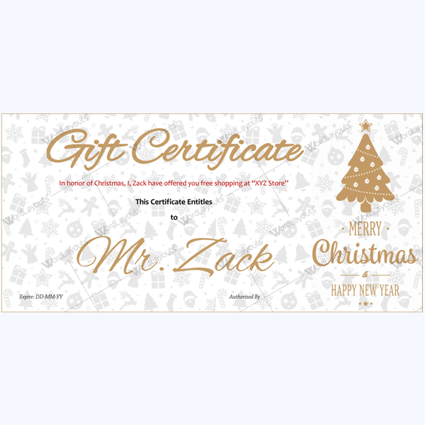 Christmas Certificate (Chocolate Tree)