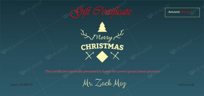 Christmas Certificate (Deep Blue Background)