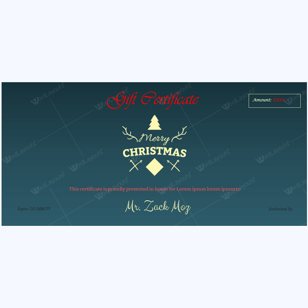 Christmas Certificate (Deep Blue Background)